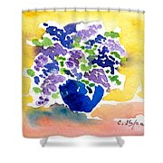 Vase With Lilas Flowers Shower Curtain