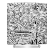 Vessels Of Early Spanish Navigators From The Narrative And Critical History Of American Shower Curtain