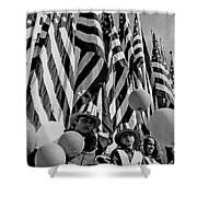 Veteran's Day Parade University Of Arizona Tucson Black And White Shower Curtain