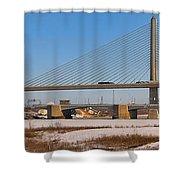 Veterans Glass City Skyway Pano Shower Curtain