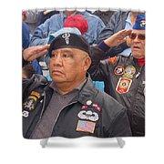 Veterans Saluting Passing Flag In A Parade Sacaton Arizona 2005-2013 Shower Curtain