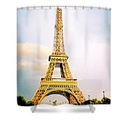 Vibrant Eiffel Tower Shower Curtain