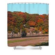 Vibrant Fall Riverside Shower Curtain