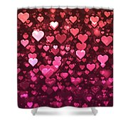 Vibrant Pink And Red Bokeh Hearts Shower Curtain