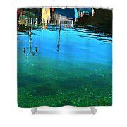 Vibrant Reflections -water - Blue Shower Curtain