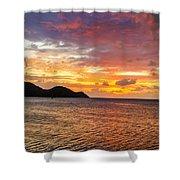 Vibrant Tropical Sunset Shower Curtain