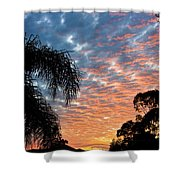 Vibrant Winter Sunset Shower Curtain