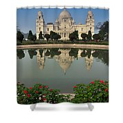 Victoria Memorial Kolkata India - Reflection On Water Shower Curtain