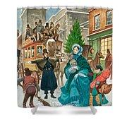 Victorian Christmas Scene Shower Curtain