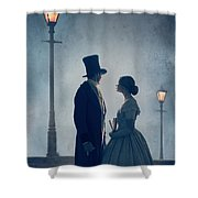 Victorian Couple At Nighttime Under Gas Lights  Shower Curtain