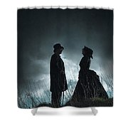 Victorian Couple Face On Another Before A Stormy Sky Shower Curtain