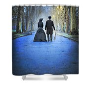 Victorian Couple In The Park At Dusk Shower Curtain