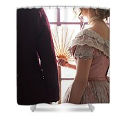 Victorian Couple Looking Out Of A Window Shower Curtain