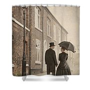 Victorian Couple On A Cobbled Street Shower Curtain