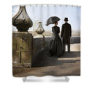 Victorian Couple Walking In The Grounds Shower Curtain