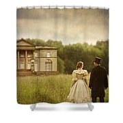 Victorian Couple Walking Towards A Country Manor House Shower Curtain