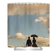 Victorian Couple With Top Hat And Parasol Shower Curtain
