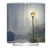 Victorian Gas Lamp In Winter Shower Curtain