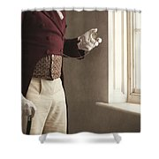 Victorian Gentleman Looking At His Pocket Watch Shower Curtain