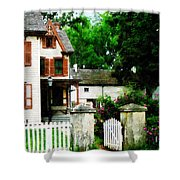 Victorian Home With Open Gate Shower Curtain