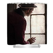 Victorian Man At A Window Shower Curtain