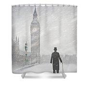 Victorian Man In London With Snow Walking Towards Big Ben Shower Curtain