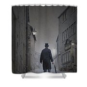 Victorian Man In Top Hat On A Cobbled Road At Night Shower Curtain