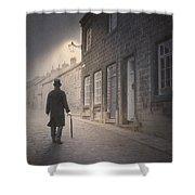 Victorian Man On A Cobbled Street Shower Curtain