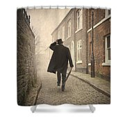 Victorian Man Running On A Cobbled Road Shower Curtain