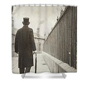 Victorian Man Walking Towards A Row Of Cottages Shower Curtain