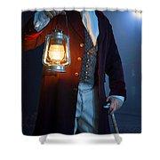 Victorian Man With Lantern At Night Shower Curtain