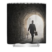Victorian Man With Top Hat And Case Walking Under A Bridge Shower Curtain