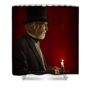 Victorian Man With Top Hat By Candle Light Shower Curtain