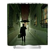 Victorian Man With Top Hat Carrying A Suitcase And Umbrella Walking In The Narrow Street At Night Shower Curtain