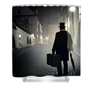 Victorian Man With Top Hat Carrying A Suitcase Walking In The Old Town At Night Shower Curtain