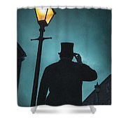 Victorian Man With Top Hat Under A Gas Lamp Shower Curtain