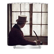Victorian Man Writing With A Quill At His Desk Shower Curtain