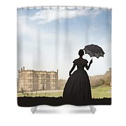 Victorian Woman Approaching A Country Estate Shower Curtain