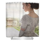 Victorian Woman Approaching A Country Manor House Shower Curtain