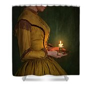 Victorian Woman Holding A Candle Shower Curtain