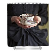 Victorian Woman Holding A China Cup And Saucer Of Tea Shower Curtain