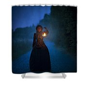 Victorian Woman Holding A Lantern At Night Shower Curtain