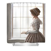 Victorian Woman In Profile At A Window Shower Curtain