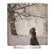 Victorian Woman In Snow Storm Shower Curtain
