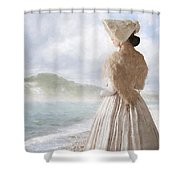 Victorian Woman On The Beach Looking Out To Sea Shower Curtain