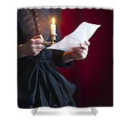 Victorian Woman Reading A Letter By Candle Light Shower Curtain