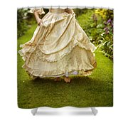 Victorian Woman Running On A Summer Lawn Shower Curtain