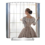 Victorian Woman Standing At The Window Shower Curtain