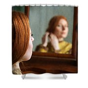 Victorian Woman Using A Dressing Table Mirror  Shower Curtain