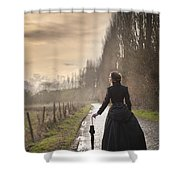Victorian Woman Walking On A Cobbled Avenue At Sunset Shower Curtain